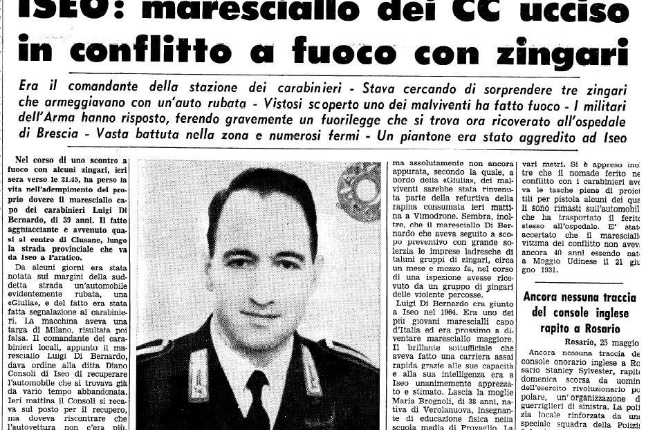 Carabiniere ucciso dai banditi: il ricordo dopo 45 anni ...