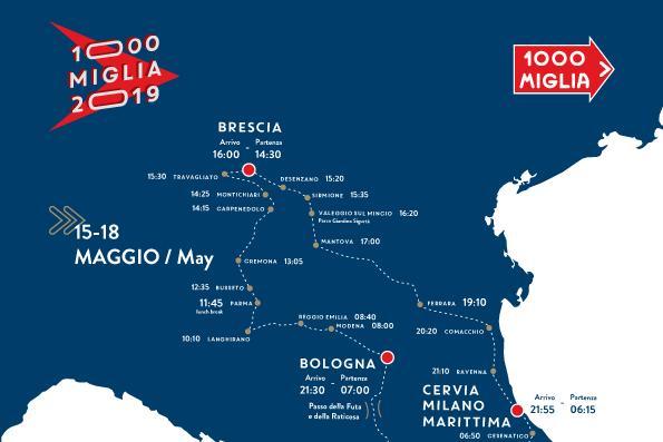 Mille Miglia 2019, percorso e programma tappa per tappa