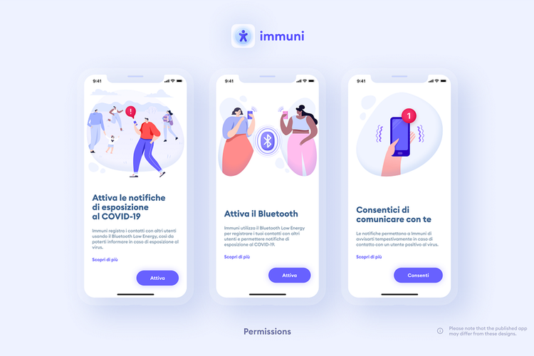 app Immuni grafica