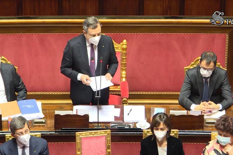 Il premier Mario Draghi in Senato - Foto Ansa/Senato tv © www.giornaledibrescia.it