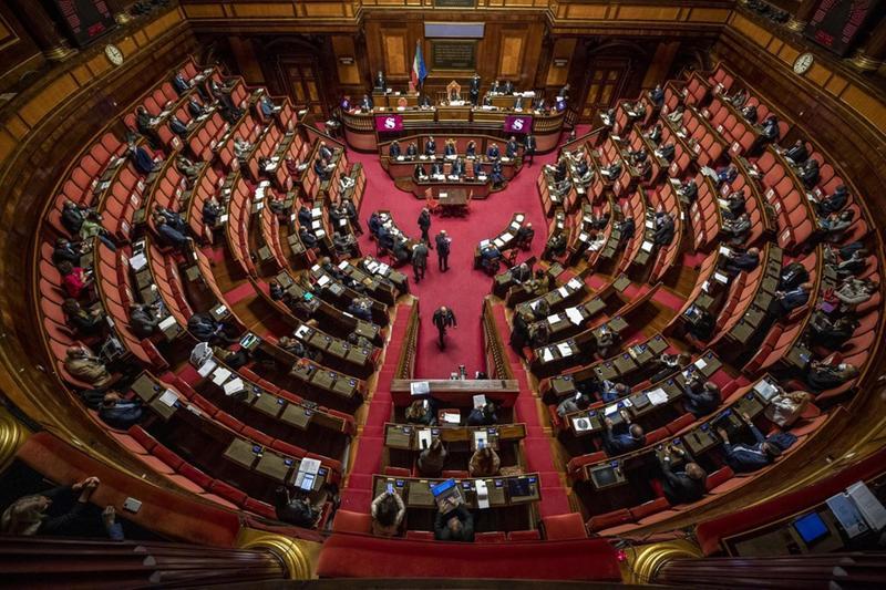 Una panoramica dell'emiciclo del Senato - Foto Ansa/Antonio Masiello © www.giornaledibrescia.it