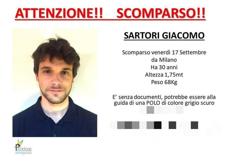 Giacomo Sartori, il volantino diffuso dopo la sua scomparsa - Foto Ansa  © www.giornaledibrescia.it